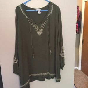 Peasant style olive gauze like material top
